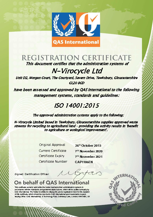 Accreditations - ISO14001 Certificate Oct 19