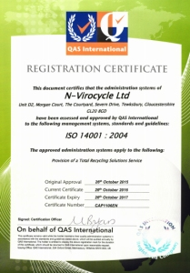 Accreditations - ISO14001 Certificate Oct 17