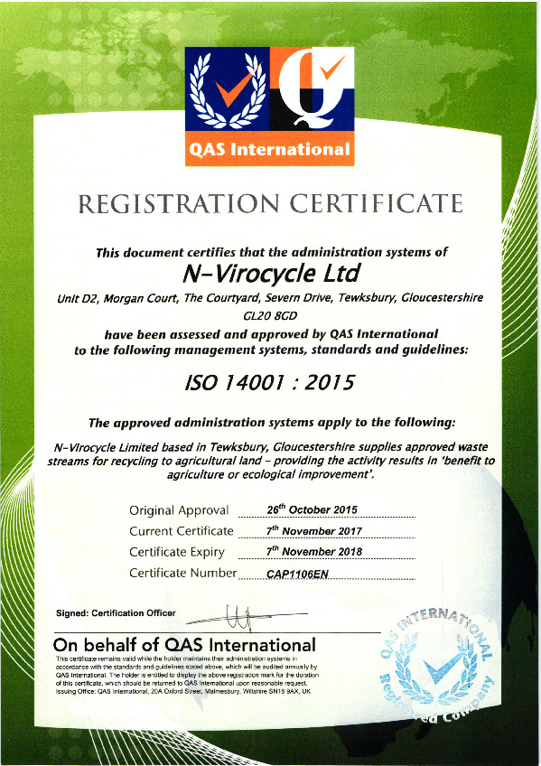 Accreditations - ISO14001 Certificate Oct 18